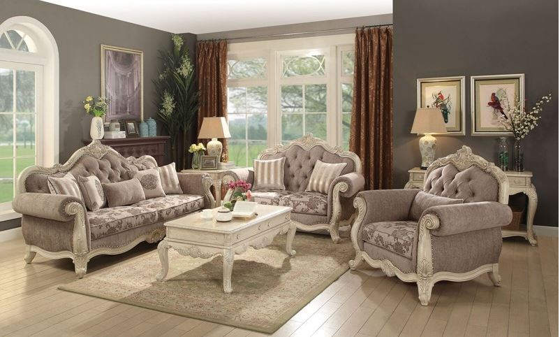 Derby Formal Living Room Set in Antique White