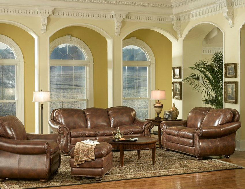 Traditional comfortable leather living room set top - Best quality living room furniture ...