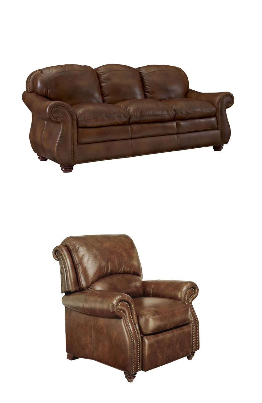 Traditional Comfortable Leather Living Room Set Top
