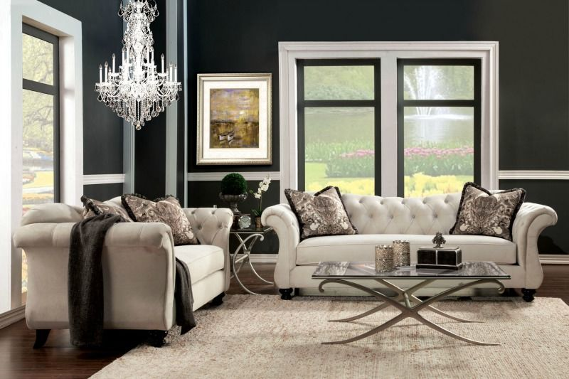 Antoinette Living Room Set in Beige