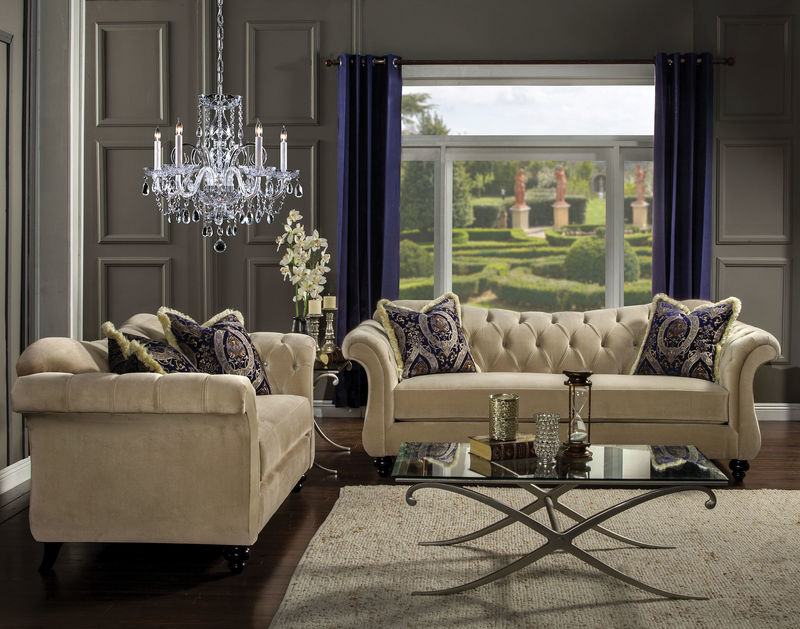 Antoinette Living Room Set in Mocha