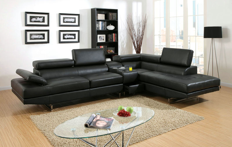 Kemi Sectional Sofa with Speaker Console in Black