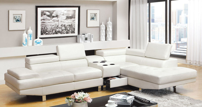 Kemi Sectional Sofa with Speaker Console in White