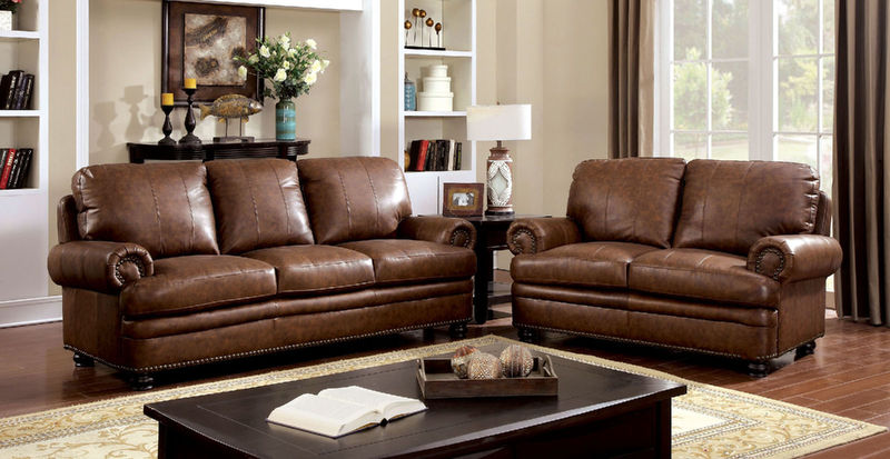 Reinhardt Leather Living Room Set in Brown