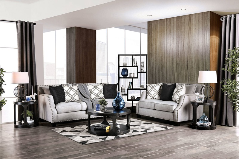 Phoibe Living Room Set in Gray