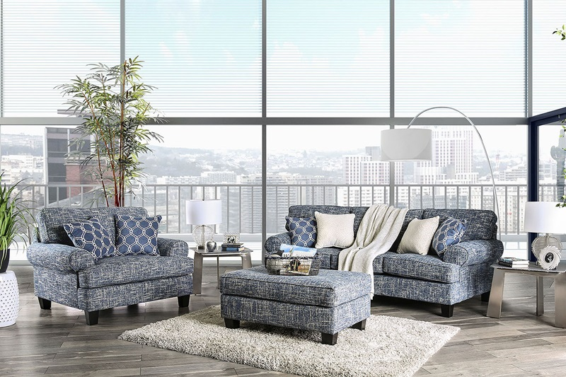 Pierpont Living Room Set in Blue