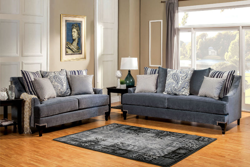 Vittoria living room set in blue vittoria living room set in blue