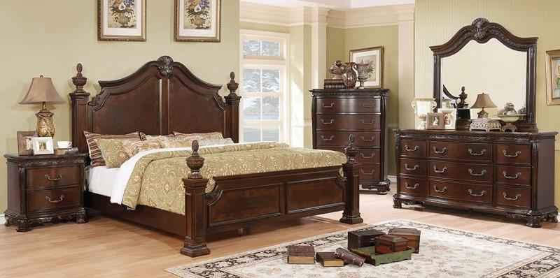Hesperos Bedroom Set in Brown Cherry