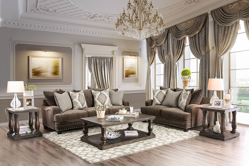 Pauline Living Room Set in Chenille