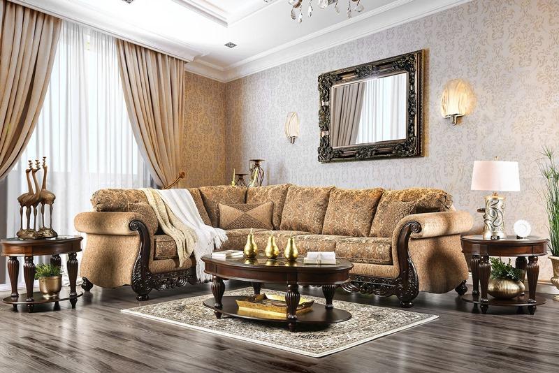 Cassandra Formal Sectional Sofa in Tan
