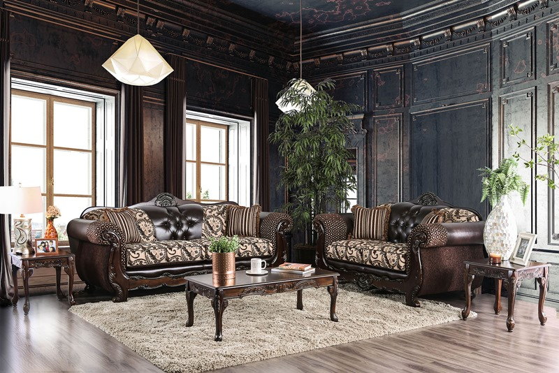 Quirino Formal Living Room Set in Light Brown