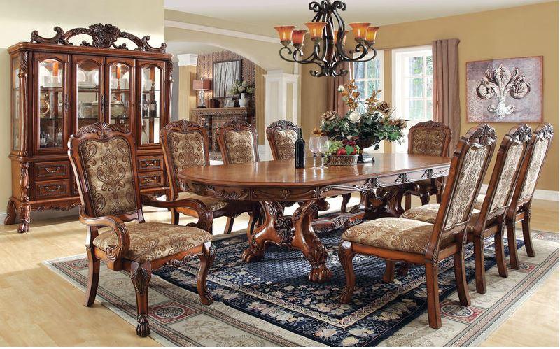 Gela Formal Dining Room Set in Antique Oak