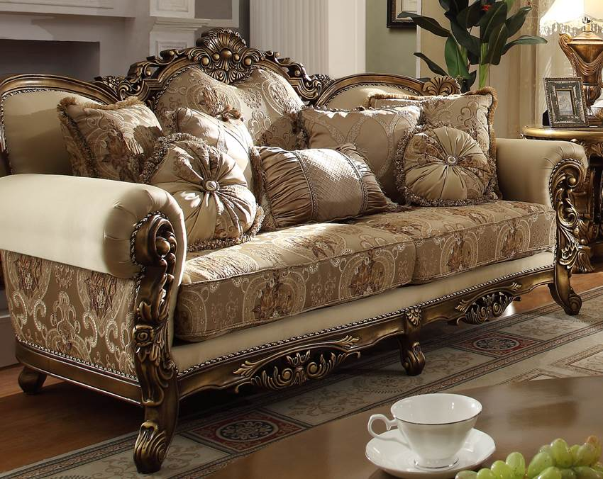 Golden victorian formal living room set free shipping - Victorian living room set for sale ...