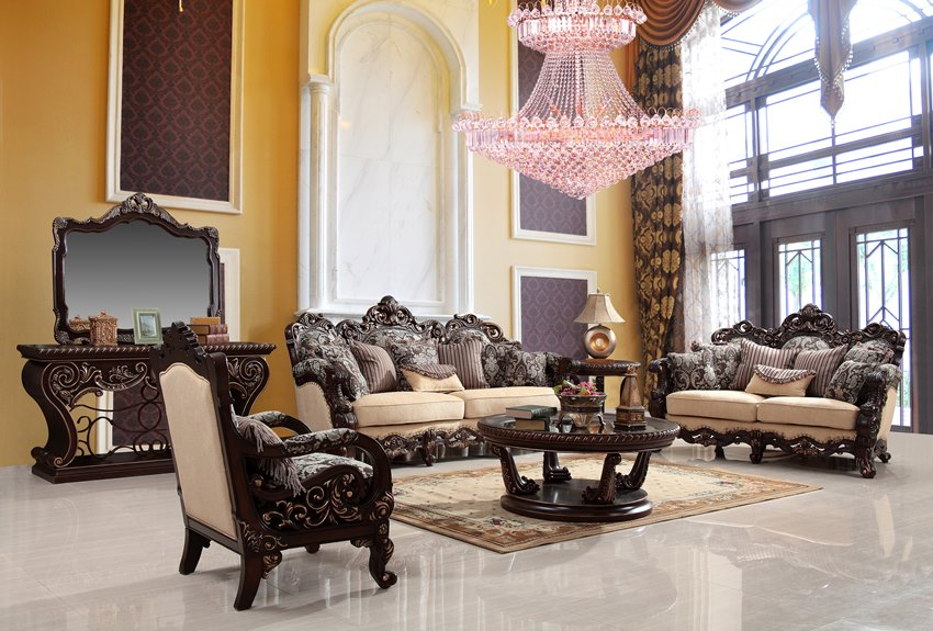 Luxury Living Room Set With Wood Carvings Von Furniture