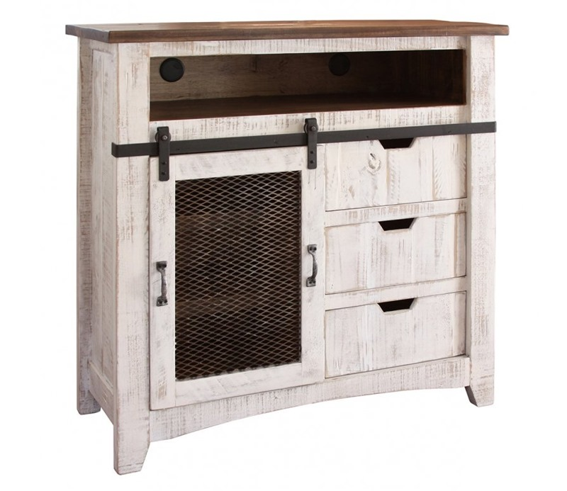 Pueblo 4 Piece Solid Wood White Rustic Bedroom Set
