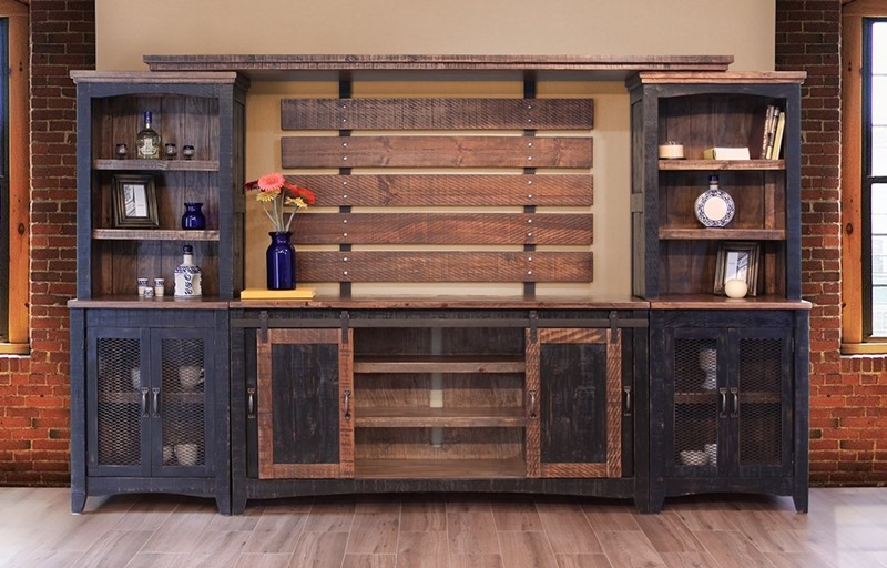 Pueblo Black Solid Wood Rustic Entertainment Center