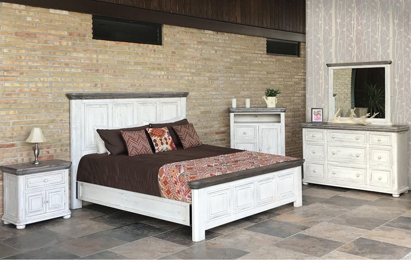 Luna 4 Piece Solid Wood Rustic Bedroom Set