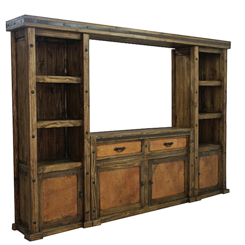 Laguna Rustic Entertainment Center with Copper Panels