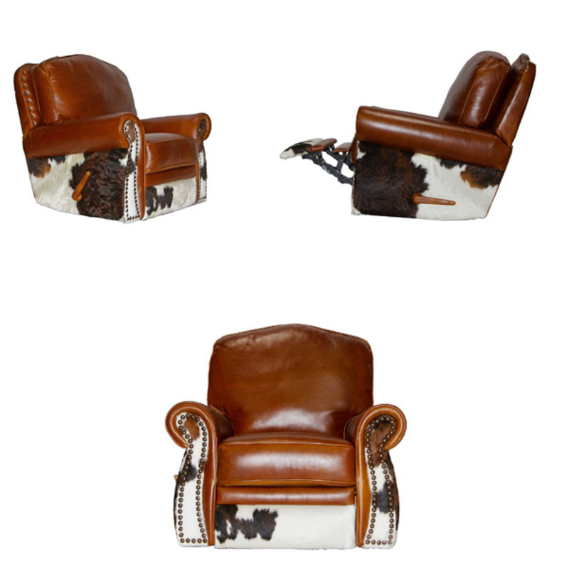 Top Grain Leather with Cowhide Rustic Sofa Set Made in Texas
