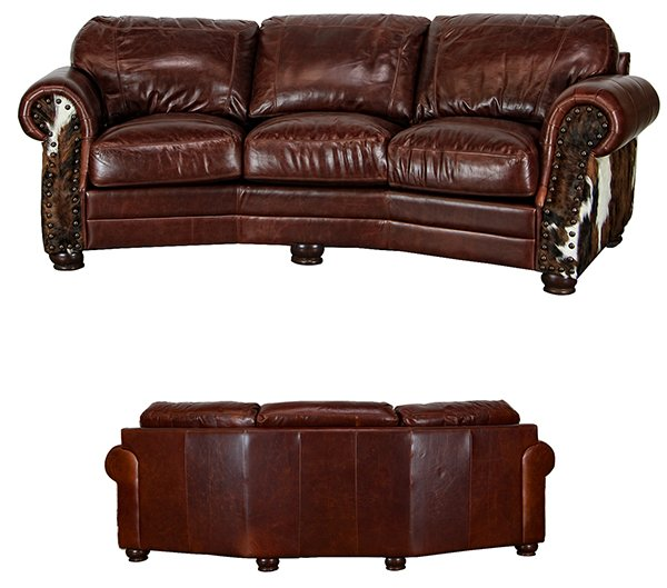 XUNIT-COW3T CH LeatherCowhide Rustic Cowboy Theater Sofa | LMT ...
