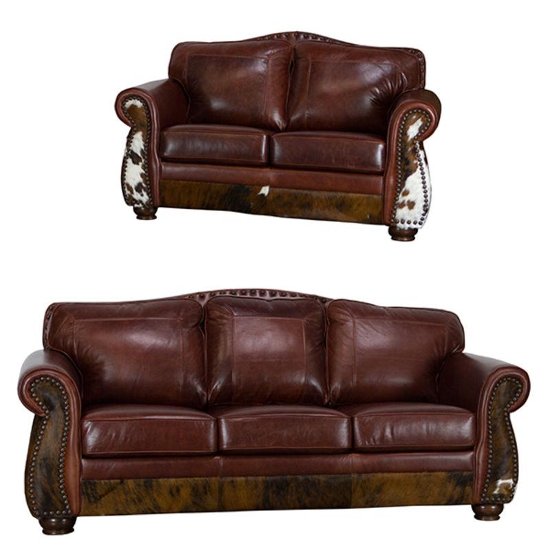 Western Decor Leather Cowhide Rustic Sofa Set In Dark Brown