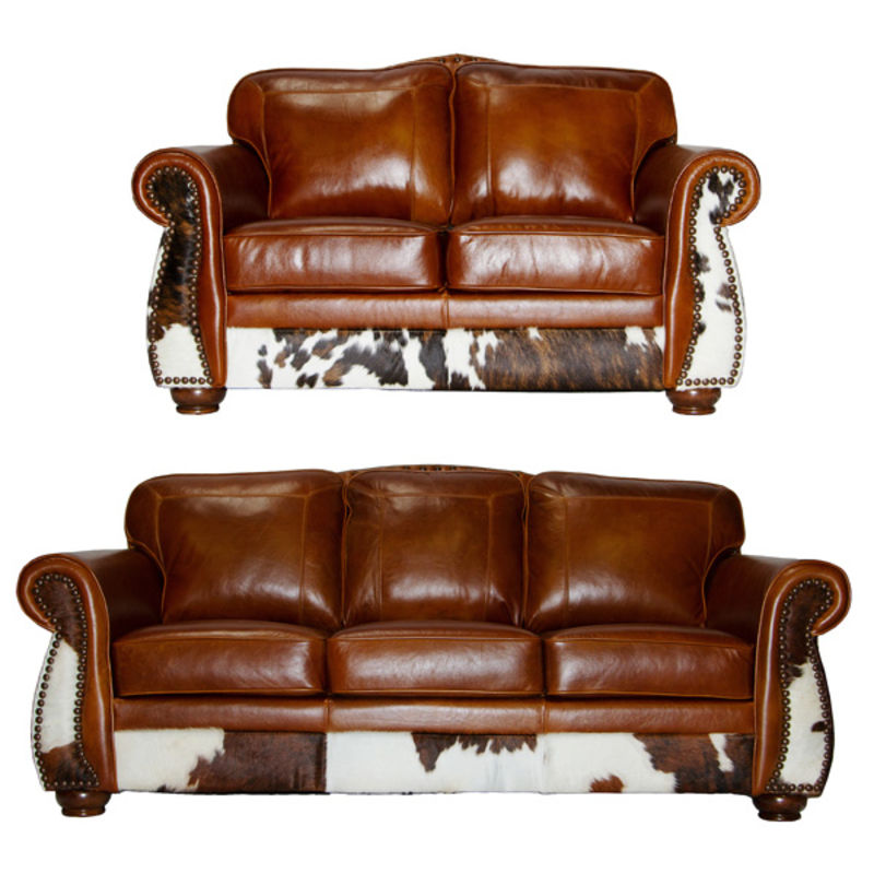 Leather Cowhide Rustic Sofa Set In Tan