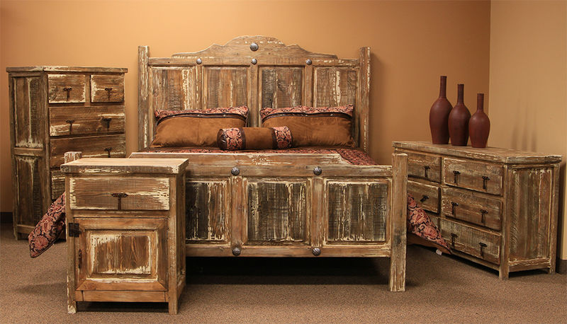 Von furniture minimized white wash rustic bedroom set for Rustic bedroom furniture