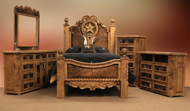 Von Furniture Rope And Star Rustic Bedroom Set With Cowhide Accents