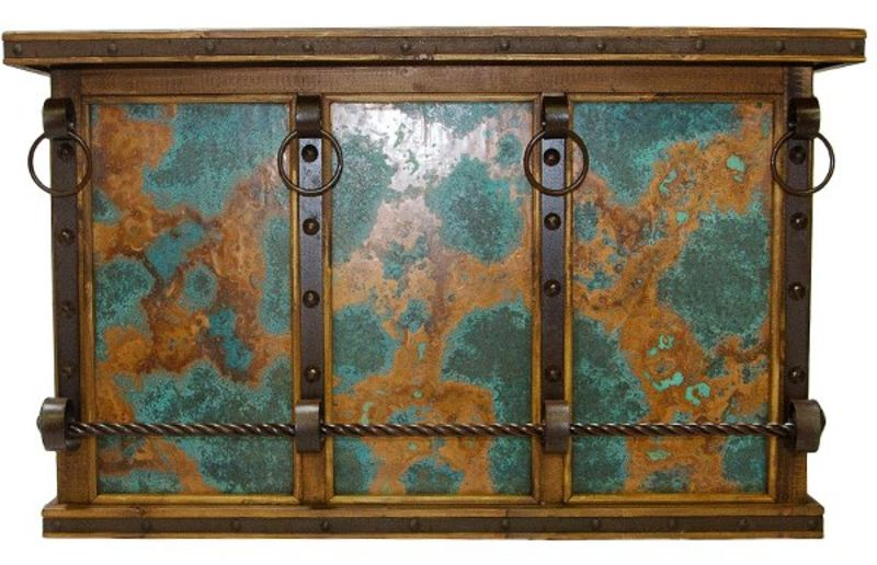 Rustic Bar with Turquoise Copper Panels