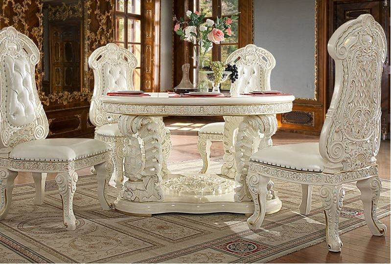 157485 Lancaster Formal Dining Room Set with Round Table | Von Furniture |  Free Shipping
