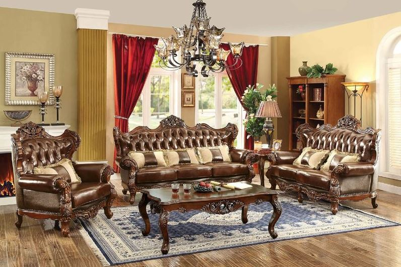 414052 Lazio Formal Leather Living Room Set