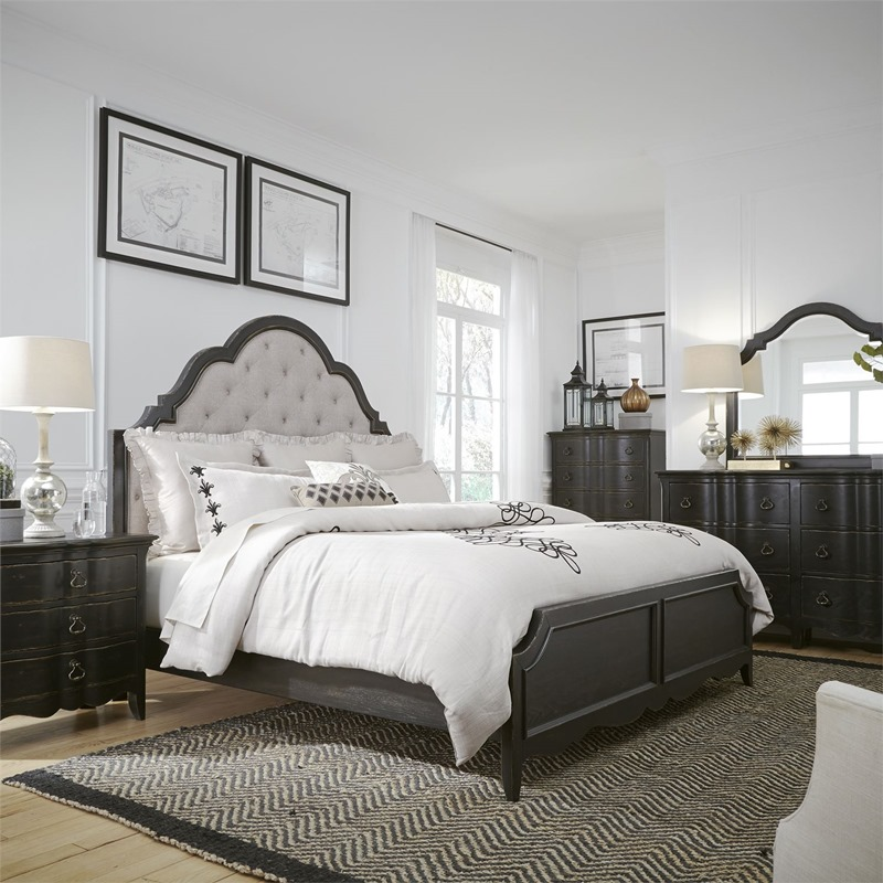 Chesapeake 4 Piece Queen Bedroom Set with Upholstered Headboard