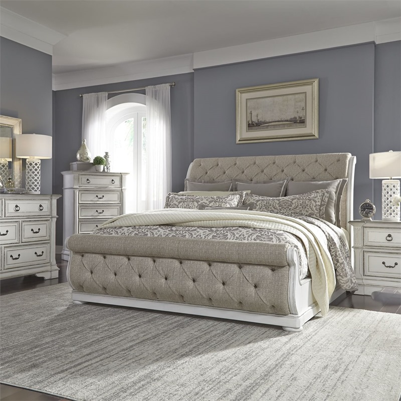Abbey Park 4 Piece Distressed White Bedroom Set with Upholstered Sleigh Bed