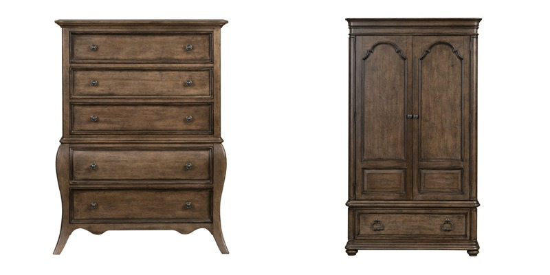 Parisian Marketplace 4 Piece Bedroom Set in Heathered Brown