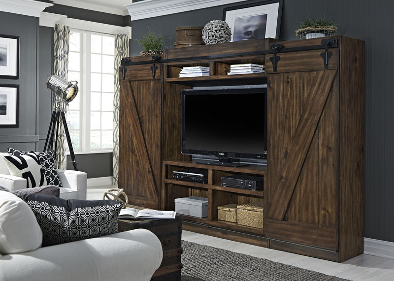 Lancaster III Entertainment Center with TV Stand, 2 Piers, Bridge