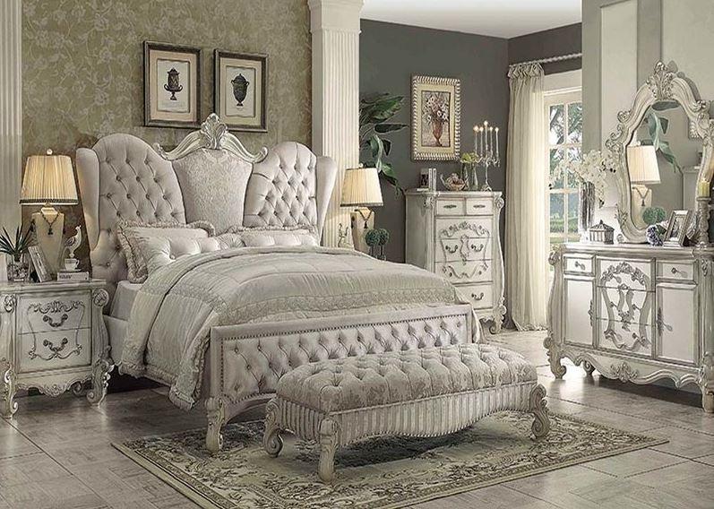 Lucca Bedroom Set in Ivory Velvet