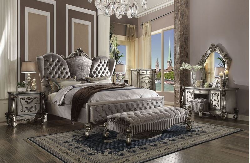 Lucca Bedroom Set in Platinum Velvet