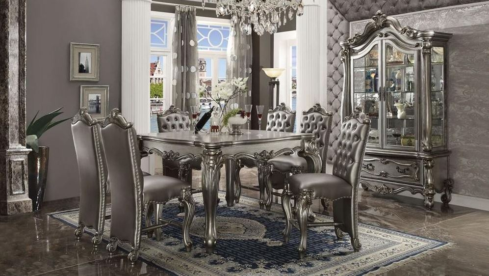 Lucca Counter Height Dining Room Set in Platinum