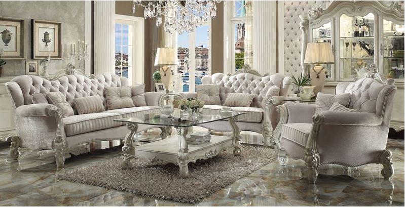 Lucca Formal Living Room Set in Ivory
