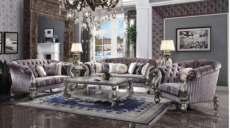 Lucca Formal Living Room Set in Platinum