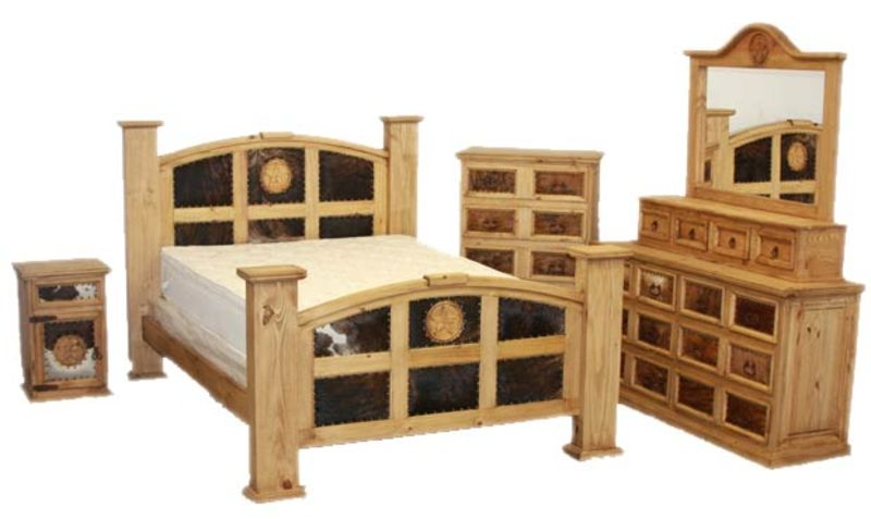 Mansion Rustic Bedroom Set With Cowhide And Stars