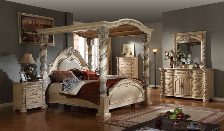 Antique White Bedroom Set With Large Canopy Bed On Sale