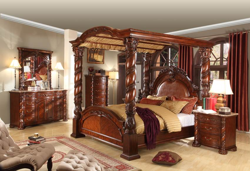 Antique Cherry Bedroom Set With Large Canopy Bed On Sale