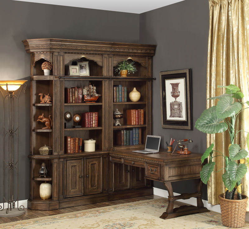 Aria Library Wall with Peninsula Desk
