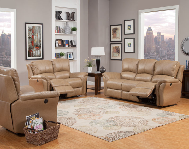 Lewis Reclining Leather Living Room Set in Camel