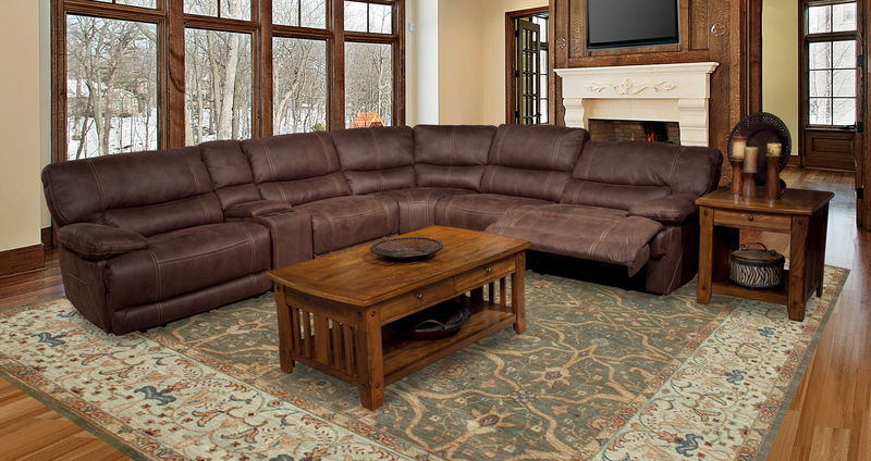 Pegasus Reclining Sectional in Kahlua
