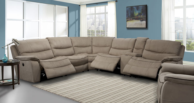 Remus Reclining Sectional in Mocha