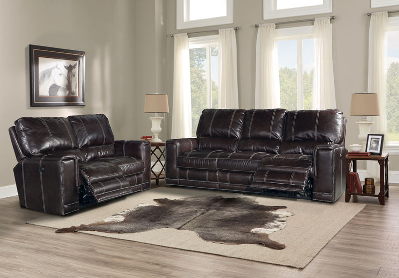 Salinger Reclining Leather Living Room Set in Sangria