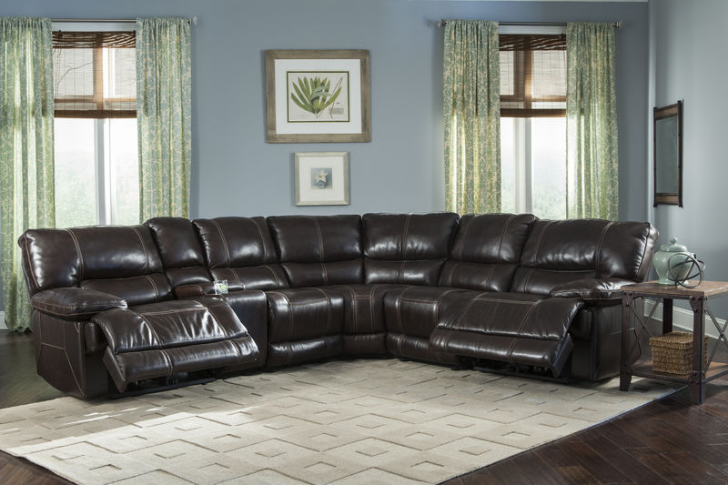 Socrates Reclining Leather Sectional in Mink