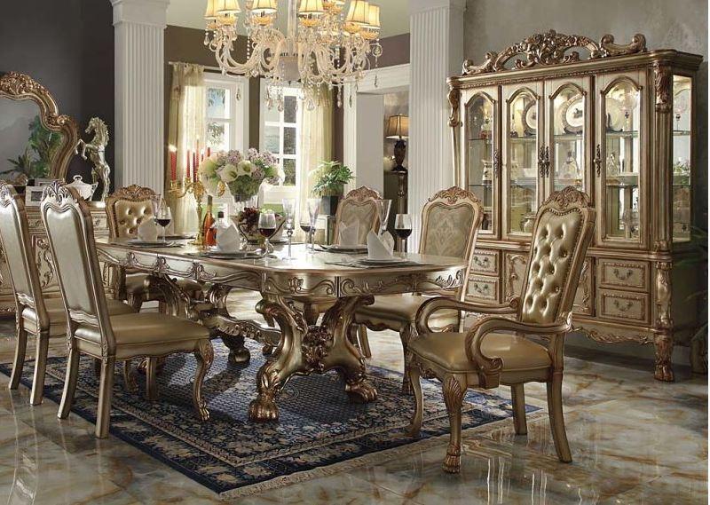Pisa Formal Dining Room Set in Gold